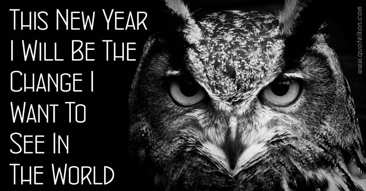 This New Year I Will Be The Change I Want To See In The World