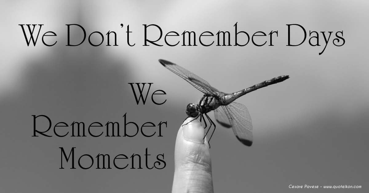 We Don't Remember Days We Remember Moments
